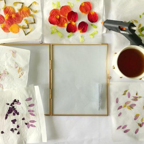 pressed flowers floating frame gold tutorial arrangement mandala design layout planning diy crafting