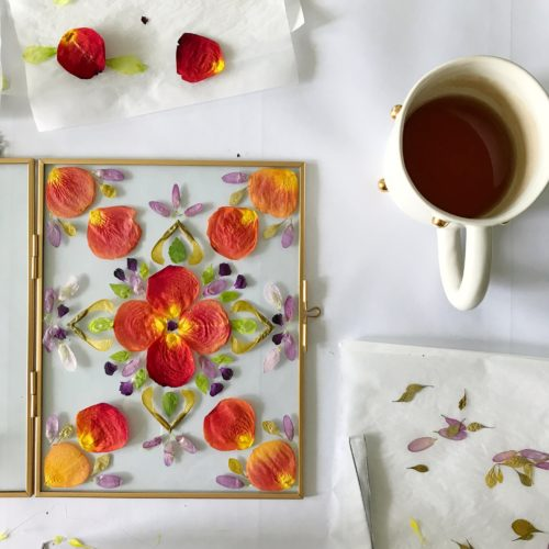 pressed flower arrangement DIY crafting tutorial floating frame wall art idea