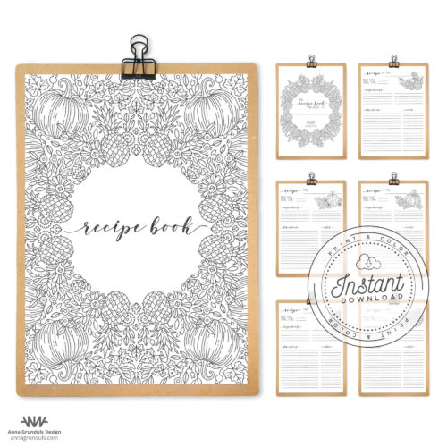 Recipe Book Printable Layout DIY Recipe Binder Inserts