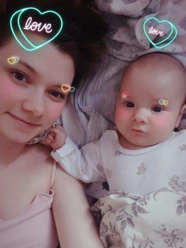 Instagram selfie with a baby boy love filter