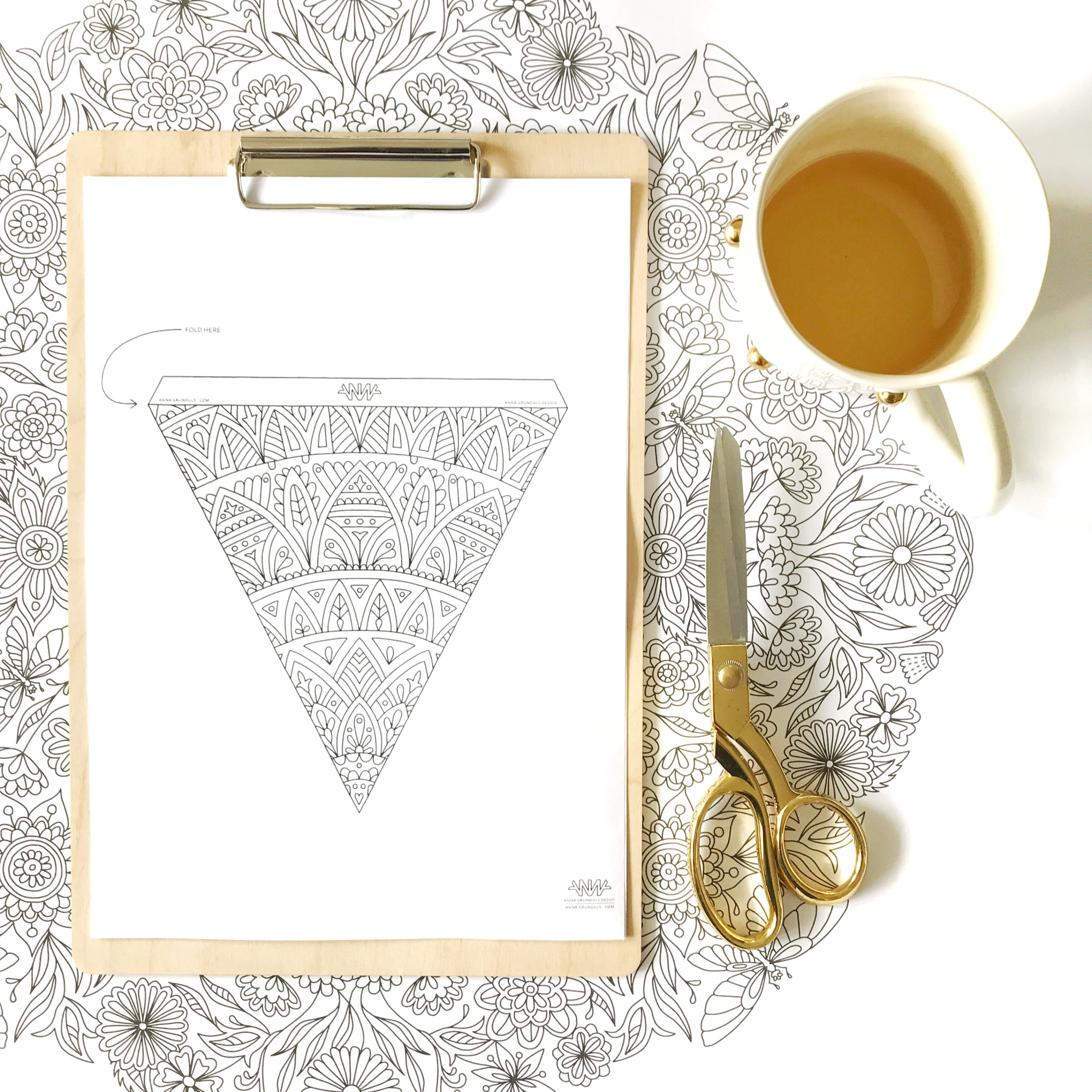 Mandala bunting flag for DIY project free printable