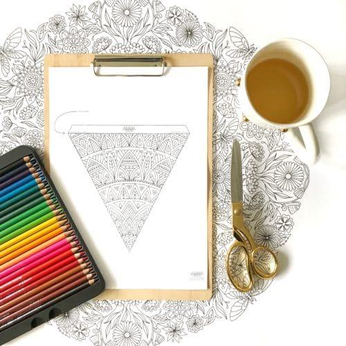 Mandala bunting flag for DIY project free printable