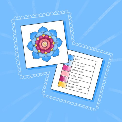 Sample Cards for Color Palettes and Color Combinations for Adult Coloring Pages