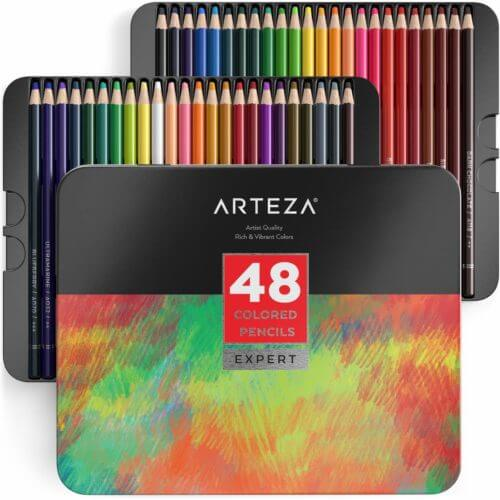 Arteza Expert Colored Pencils Set of 48 Packaging Inside Unboxing