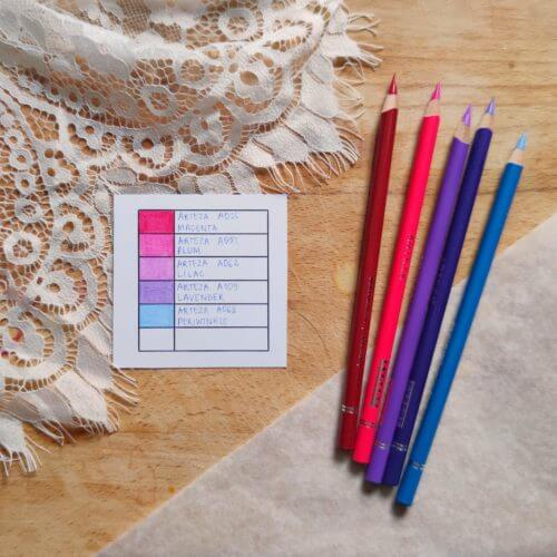 Arteza Expert Colored Pencils Palette Sample Pink Lilac Magenta Girly Color Combination