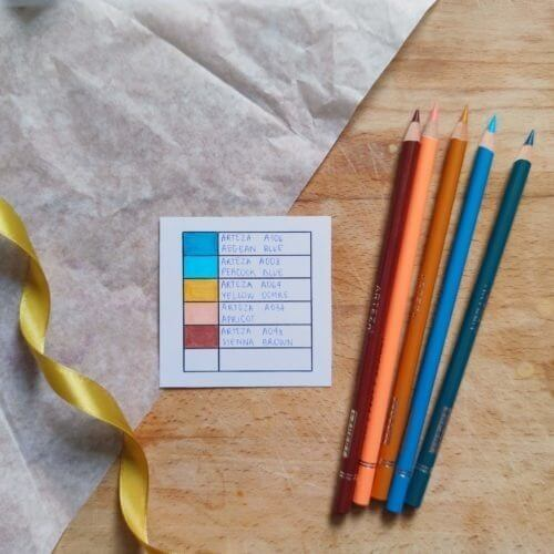 Arteza Colored Pencils Professional Color Combination Swatch Paint Chips