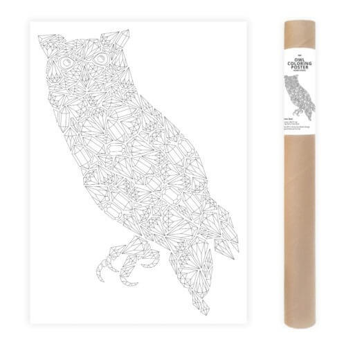 Owl Adult Coloring Poster Large Coloring Page AnnaGrunduls509