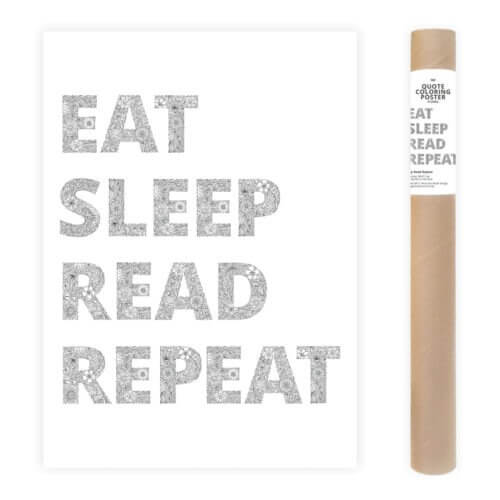 Eat Sleep Read Repeat Adult Coloring Poster Large Coloring Page AnnaGrunduls524