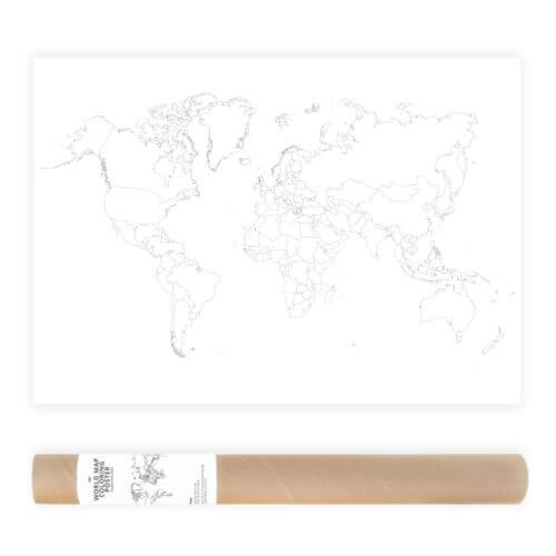 Plain Outlines World Map Coloring Poster Travel Map Sales Map