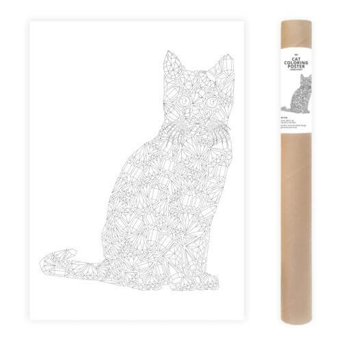 Gems Cat Coloring Page Adult Coloring Poster Diamonds AnnaGrunduls508
