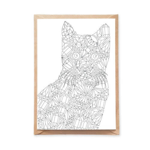 Diamonds Cat Adult Coloring Postcard with Gemstones Designs