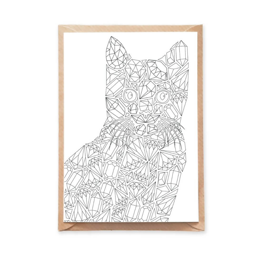 Diamonds Cat Adult Coloring Postcard with Gemstones Designs
