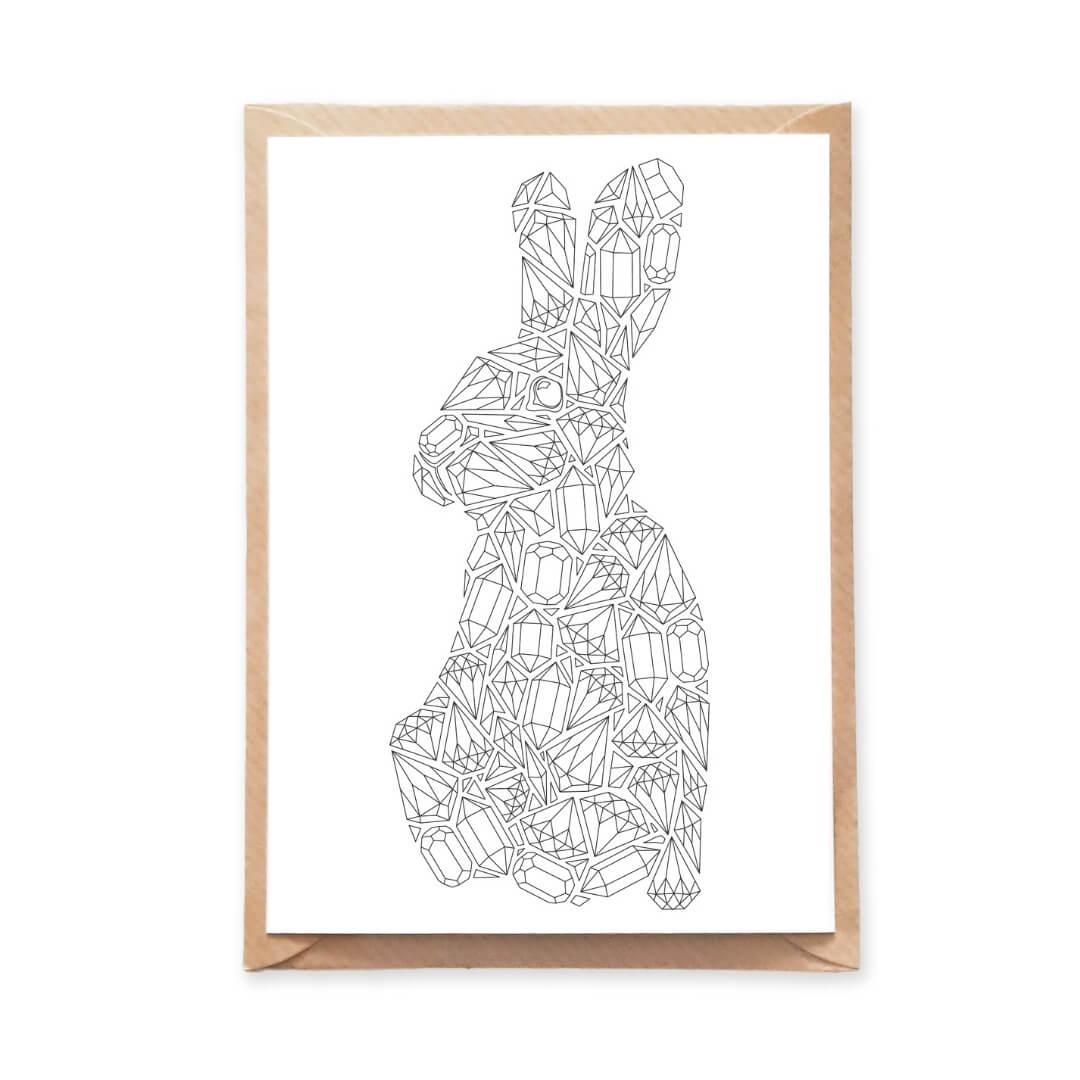gemstones rabbit coloring postcard