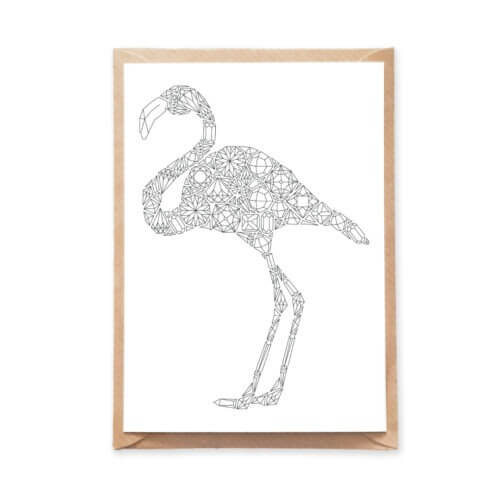 Flamingo Coloring Postcard with Gemstones Pattern for Adult Coloring
