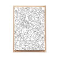 Detailed Gems Pattern Coloring Postcard for Adult Coloring and Postcrossing