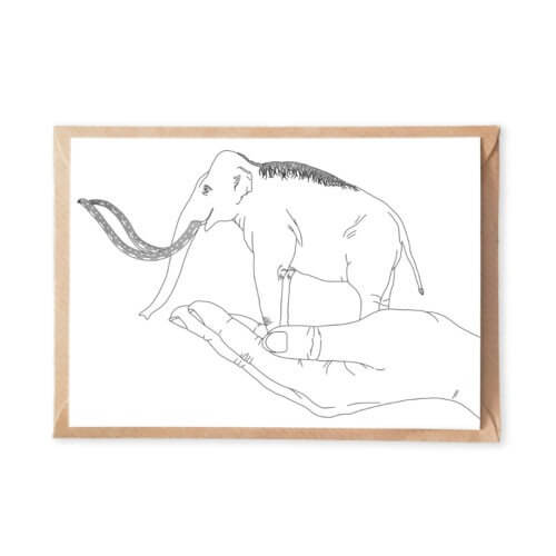 Fantasy Adult Coloring Page Postcard with Magical Illustrations of Miniature Mammoth Animal on a Womans Hand