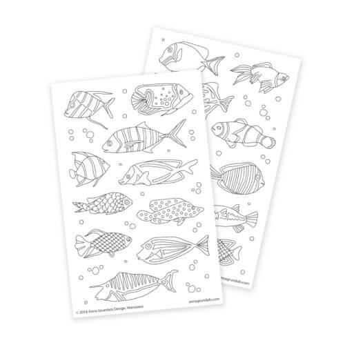Fish Coloring Stickers for Kids Crafting and Bullet Journaling