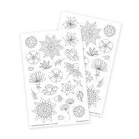 Flower Coloring Stickers for Creative DIY Projects and Bullet Journal Layouts