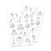 Happy Birthday Coloring Stickers for Adult Coloring and Party Favors