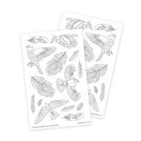 Birds and Feathers Boho Stickers for Adult Coloring