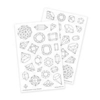 Gemstones Coloring Stickers for Crafting, DIY and Adult Coloring