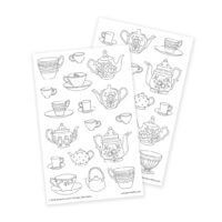 Teapots Coloring Stickers for Crafting and Adult Coloring