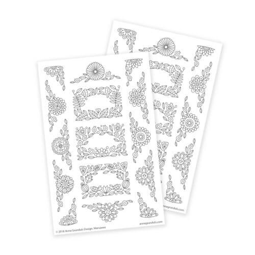Flower Ornaments Coloring Stickers for Planners and Journaling
