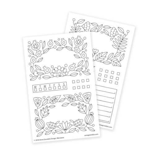 Flower Frames Planner Stickers for Adult Coloring and Bullet Journaling