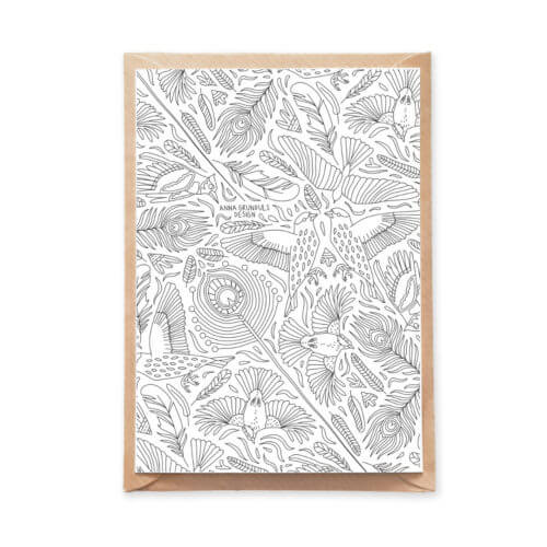 Adult Coloring Birds and Feathers Illustration on an Adult Coloring Postcard for Crafters
