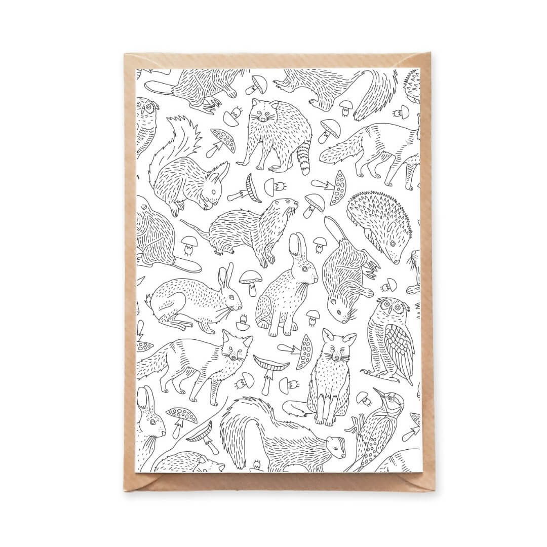 Forest Animals Pattern Postcard for Adult Coloring with Fox, Squirrel, Hedgehog Illustrations