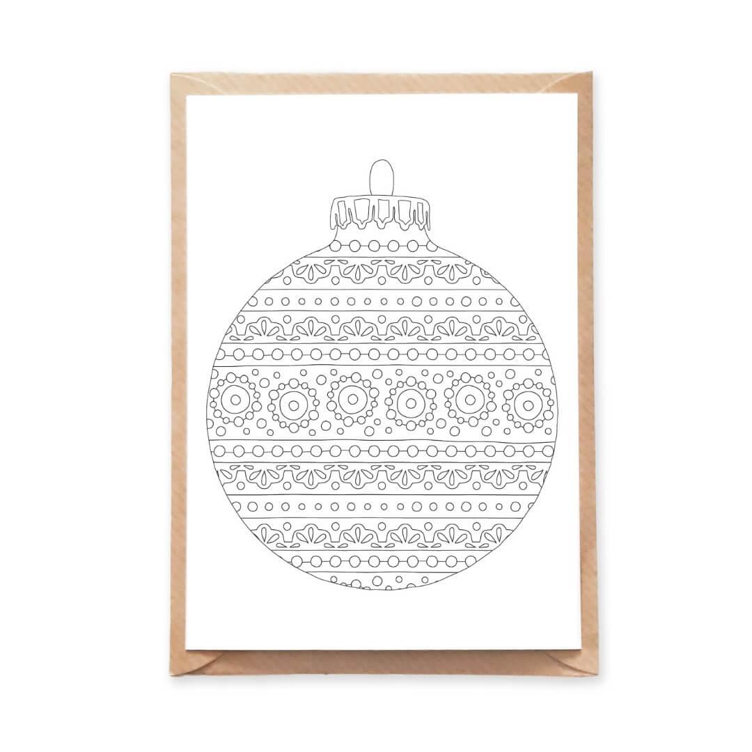 round ornament coloring postcard