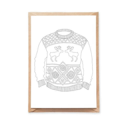 Christmas sweater coloring postcard