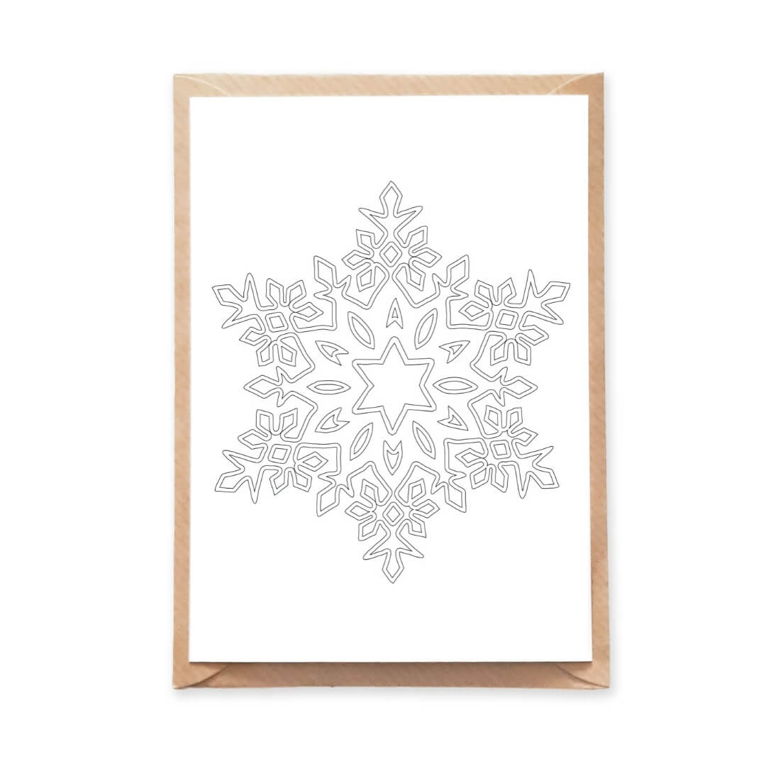 Winter Themed Snowflake Mandala Adult Coloring Postcard for Christmas Card and Holiday Wishes