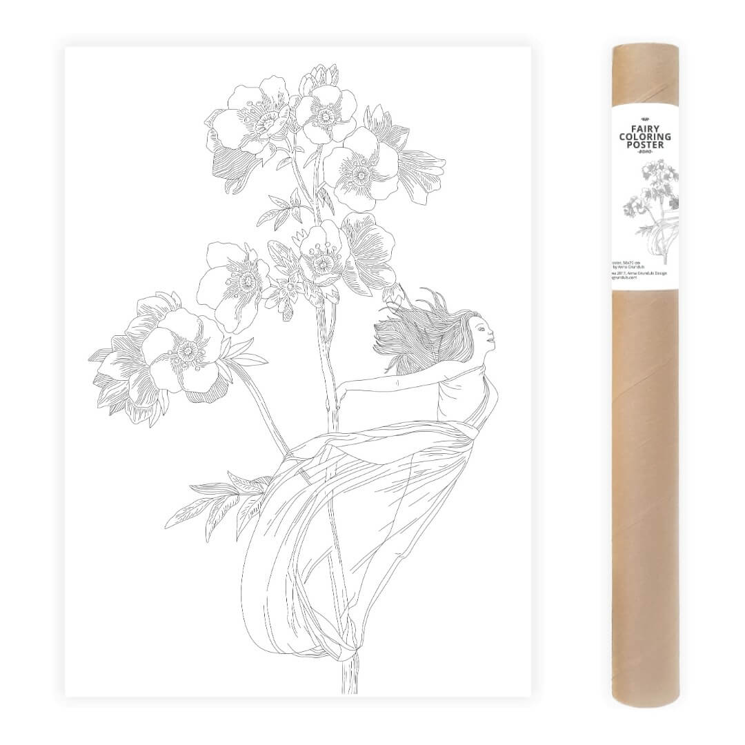 Flowers Fairy Adult Coloring Poster Large Coloring Page AnnaGrunduls517