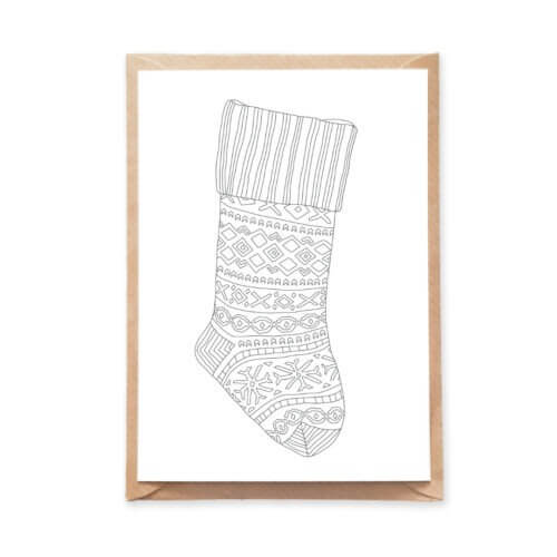 Festive Knitted Christmas Stocking Adult Coloring Postcard Beautiful Christmas Card to DIY