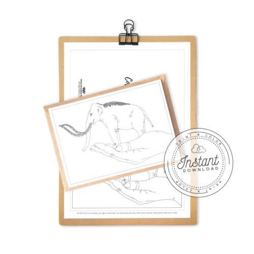 Printable Mammoth Coloring Card