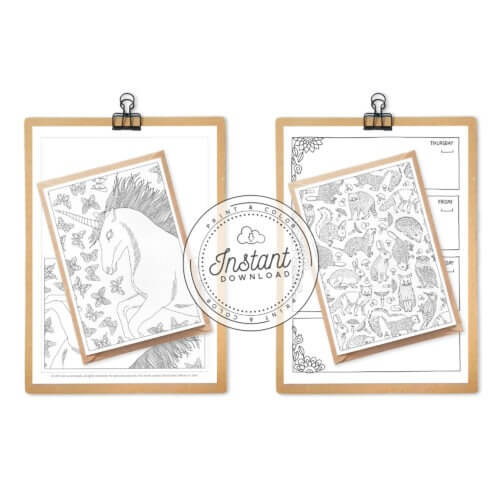 printable fantasy postcards coloring bundle set of 10