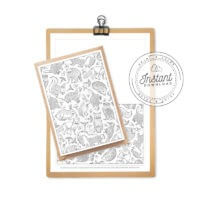 Forest Animals Adult Coloring Page Card