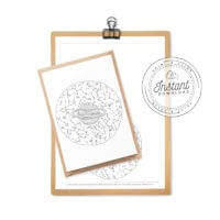 Sky Map Printable Coloring Postcard