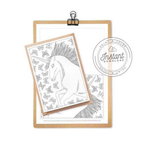 Unicorn Printable Coloring Postcard
