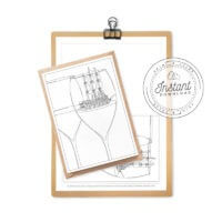 Wine Glass Adult Coloring Postcard