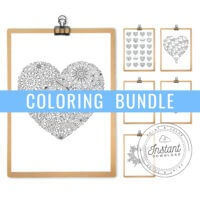 Printable Coloring Pages Bundle Heart Patterns