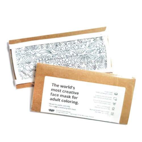 adult coloring face mask with pretty packaging