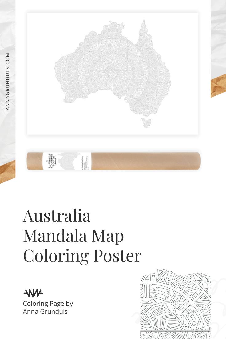 Australia Mandala Map Coloring Poster by Anna Grunduls