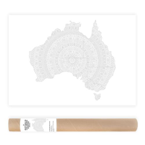 australia mandala coloring map poster