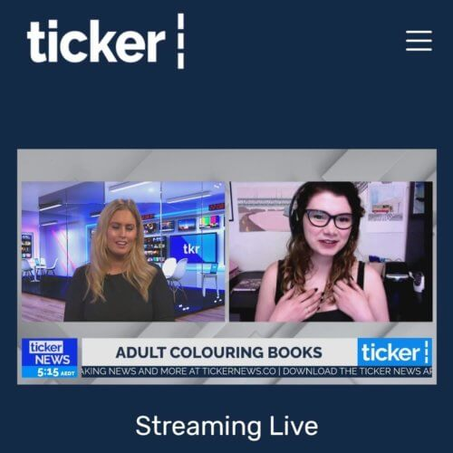 Anna Grunduls on television talking about adult coloring books