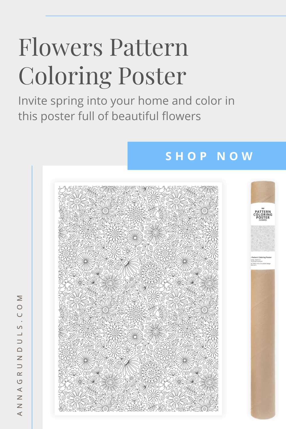 Flowers Pattern Coloring Poster Pinterest Graphic
