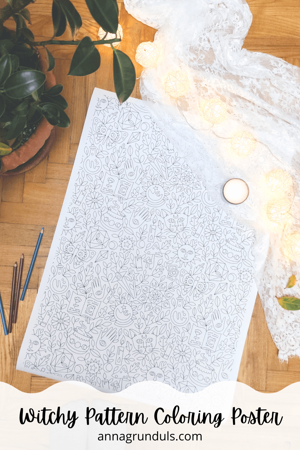 Witchy Pattern Adult Coloring Poster