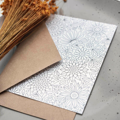 flowers adult coloring postcard stationery