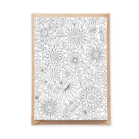 flowers pattern adult coloring postcard